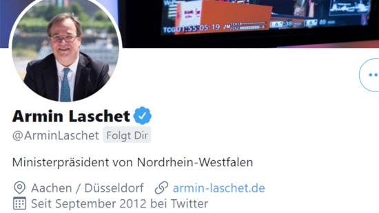 Bildschirmfoto des profils von @ArminLaschet, ministerpräsident von nordrhein-westfalen, verifiziertes benutzerkonto -- @ArminLaschet folgt dir