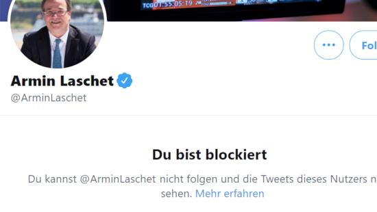 Bildschirmfoto des profils von @ArminLaschet, ministerpräsident von nordrhein-westfalen, verifiziertes benutzerkonto -- Du bist blockiert -- Du kannst @ArminLaschet nicht folgen die Tweets dieses Nutzers nicht sehen.