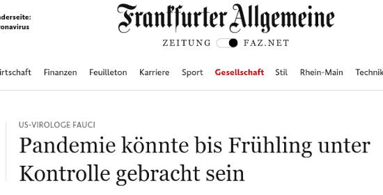 Bildschirmfoto der webseit der frankfurter allgemeinen zeitung -- US-Virologe Fauci: Pandemie könnte bis Frühling unter Kontrolle gebracht sein.
