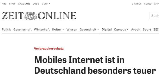 Bildschirmfoto von zeit onlein -- Verbraucherschutz: Mobiles Internet ist in Deutschland besonders teuer