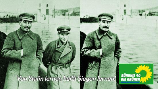 Manipuliertes Foto aus der Stalinzeit der Sowjetunion, mit dem Original gegenübergestellt: Ein Kommissar, der inzwischen in Stalins Ungnade gefallen war, wurde einfach aus einem Foto entfernt