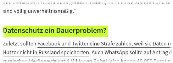 """Die zwischenüberschift im heise-artikel: """"Datenschutz ein Dauerproblem""""."""
