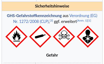Gefahrstoffkennzeichnung für ethylenoxid